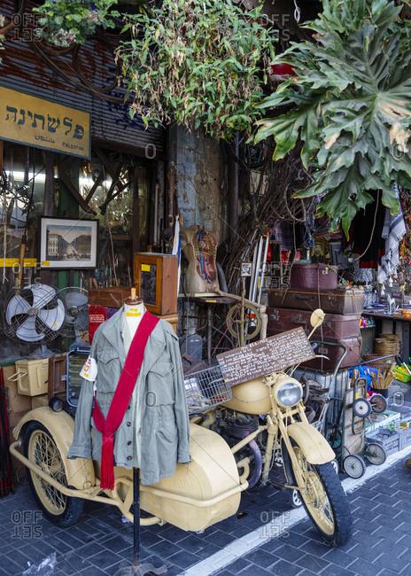 October 24, 2017: Antique store at Jaffa Flea Market, Tel Aviv, Israel.