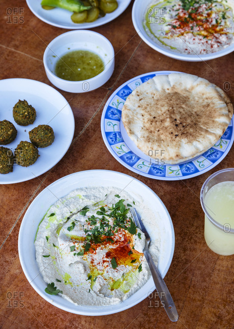 Hummus at a market in Tel Aviv, Israel.
