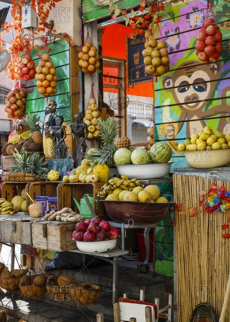 October 24, 2017: Fresh juices stall at Jaffa Flea Market, Tel Aviv, Israel.