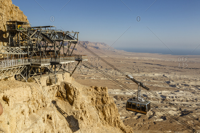 The cable car leading to the Masada fortress at the edge of the Judean Desert, Israel.