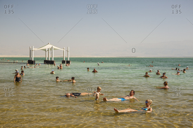 October 26, 2017: People at the Dead Sea, Ein Bokek, Israel.