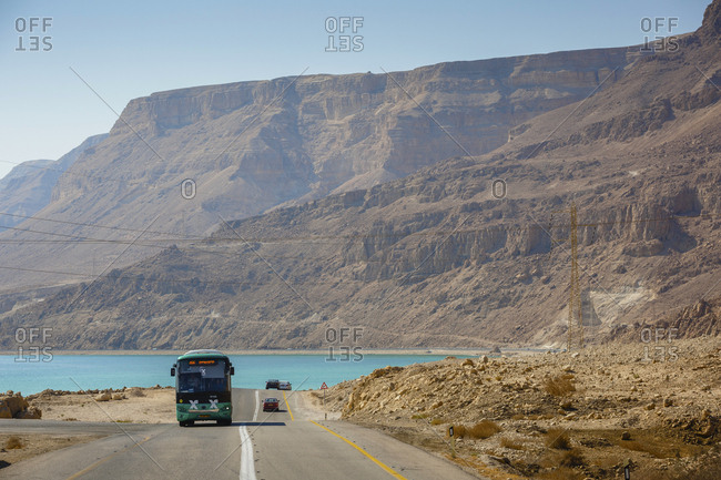 October 26, 2017: Egged bus on the road along the dead sea, Israel.