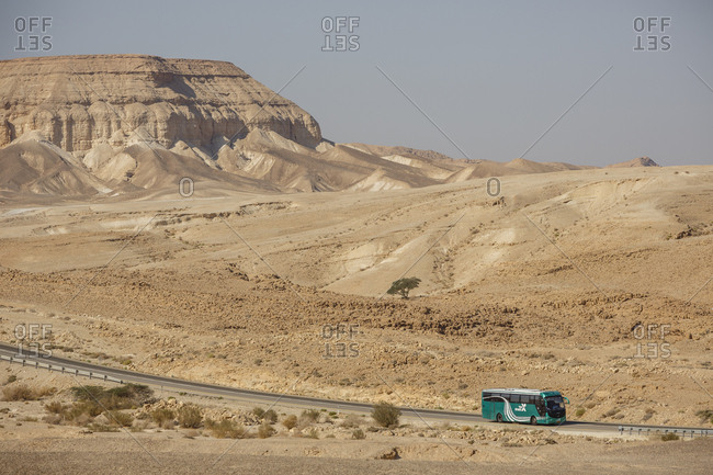 October 26, 2017: Egged bus on the Sdom-Arad road in the Negev desert, Israel.