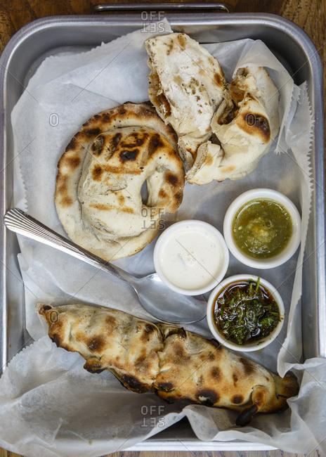 Empanadas at a market in Jerusalem, Israel.