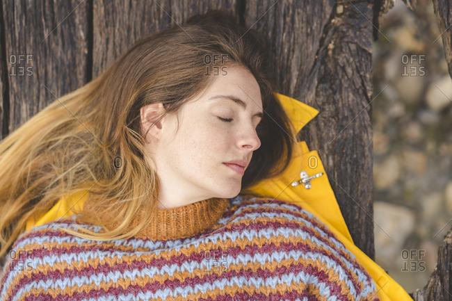 Portrait of woman having a rest outdoors