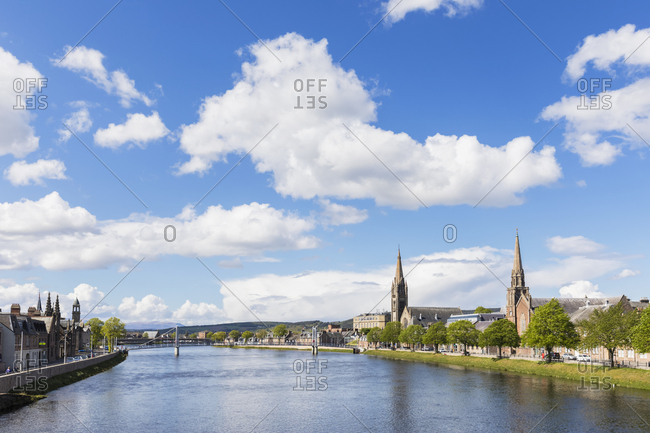 UK- Scotland- Inverness- cityscape with Greig St Bridge- Huntly Street- River Ness- Old High Church- Free Church of Scotland and Bank Street