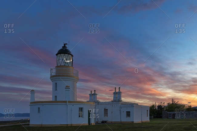 UK- Scotland- Black Isle- Chanonry Ness- Chanonry Point- Chanonry Lighthouse at sunset