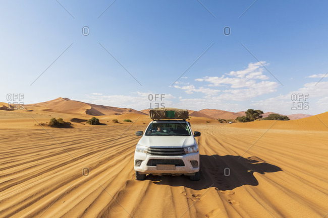 Africa- Namibia- Namib desert- Naukluft National Park- off-road vehicle on sand track