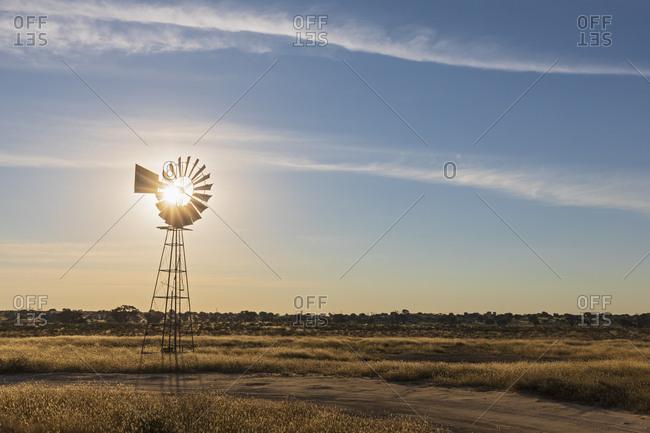 Africa- Botswana- Kgalagadi Transfrontier Park- Kalahari- wind wheel at waterhole Lanklaas