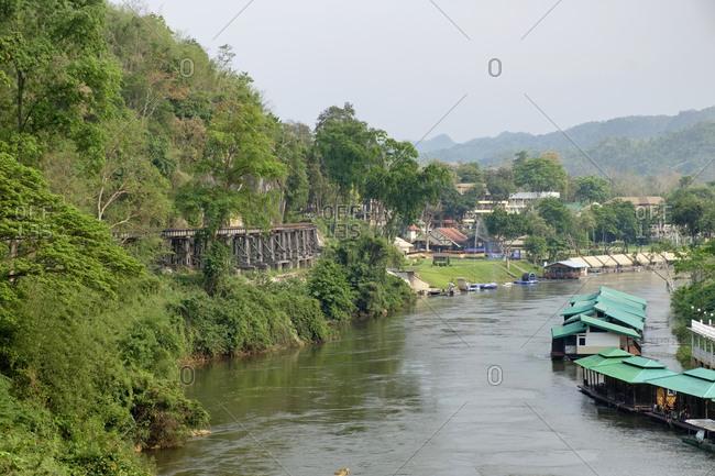 Thailand- Kanchanaburi Province- Thamkrasae bridge- Railway track of Death Railway- River Kwai