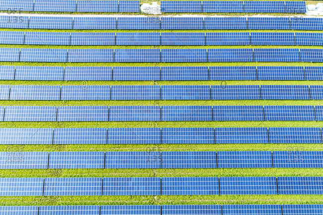 Aerial view of photovoltaic plant