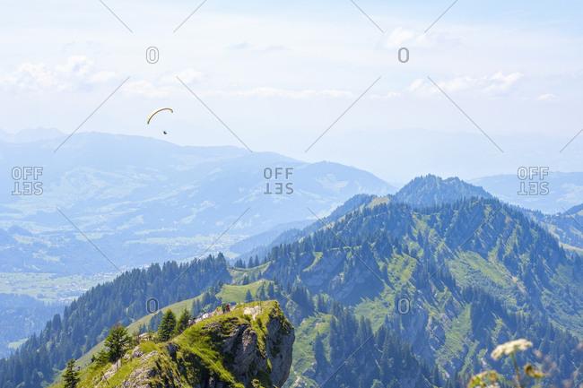 Germany- Bavaria- Allgaeu- Oberallgaeu- Oberstaufen- Allgaeu Alps- View from Hochgrat- Nagelfluhkette- paraglider