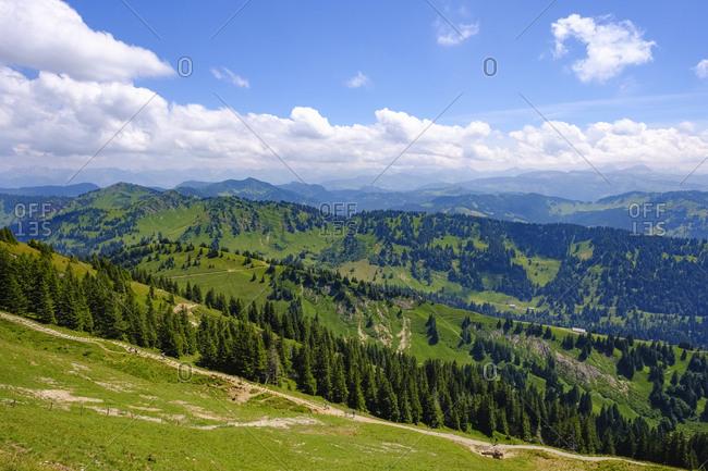 Germany- Bavaria- Allgaeu- Oberallgaeu- Oberstaufen- Allgaeu Alps- View from Hochgrat- Siplingerkopf and Riedbergerhorn- Nagelfluhkette