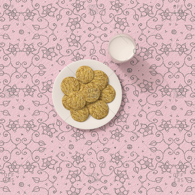 3D rendering- Oatmeal cookies on table cloth with floral pattern