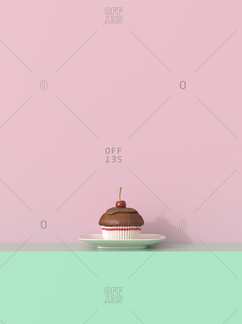 3D rendering- Cherry muffin on shelf against yellow background