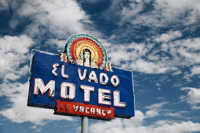 Albuquerque, New Mexico, USA - September 16, 2018: Vintage sign advertising the El Vado Motel