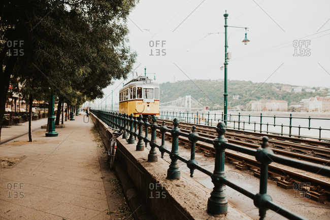 Budapest, Hungary - September 22, 2018: Historic electric tram in the city