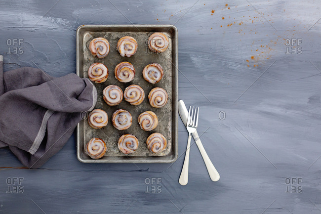High angle view of mini cinnamon rolls on a tray