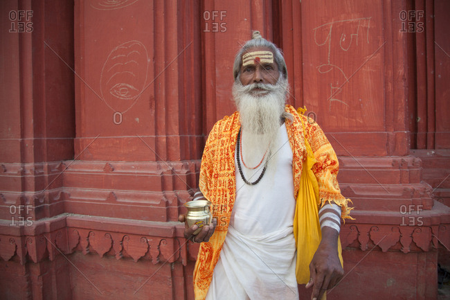 Varanasi, India - October 30, 2011: Portrait of a traditional holy man