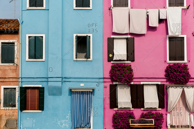 Pink and blue buildings in Burano
