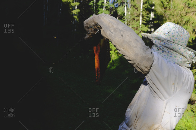 Beekeeper holding up a frame from a beehive