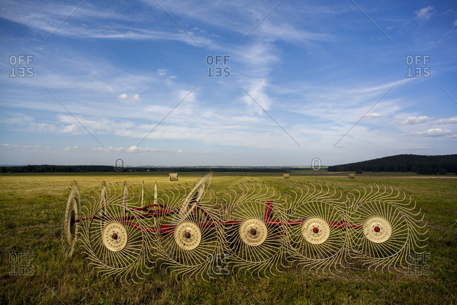 Wheel rake in a rural field