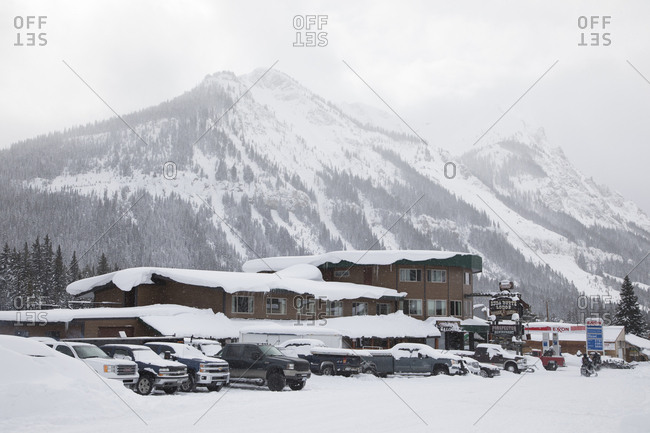 Daylight Comes to Hotel Settled in Snowy Yellowstone Valley