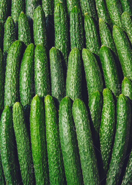 Cucumbers arranged in a pattern