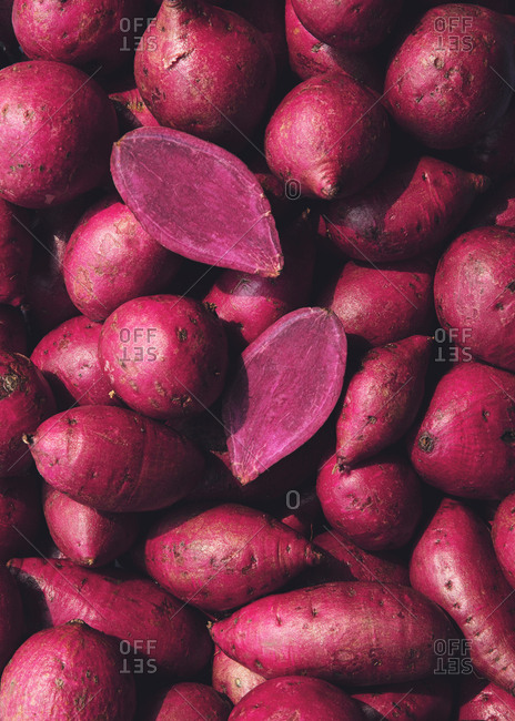 A pile of Vietnam purple sweet potatoes
