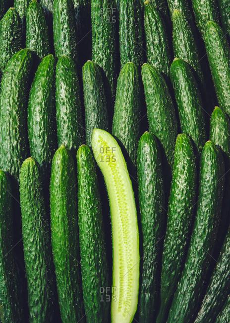 Cucumbers arranged in a pattern