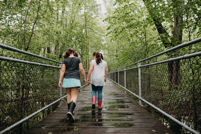 Two girls walking on a fenced path through the swamp