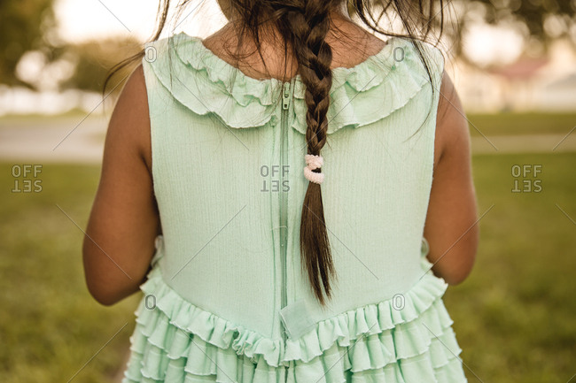 Back view of girl with braided hair