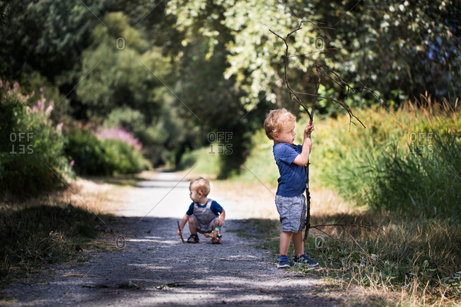 Toddler boy and baby brother playing with sticks on country road