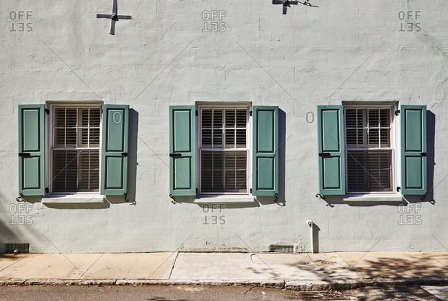 Building with blue shutters in Charleston, South Carolina