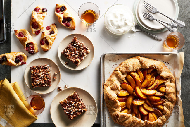 Boysenberry danishes, Mississippi mud cake and spiced peach galette