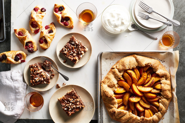 Boysenberry danishes, spiced peach galette, and Mississippi mud cake