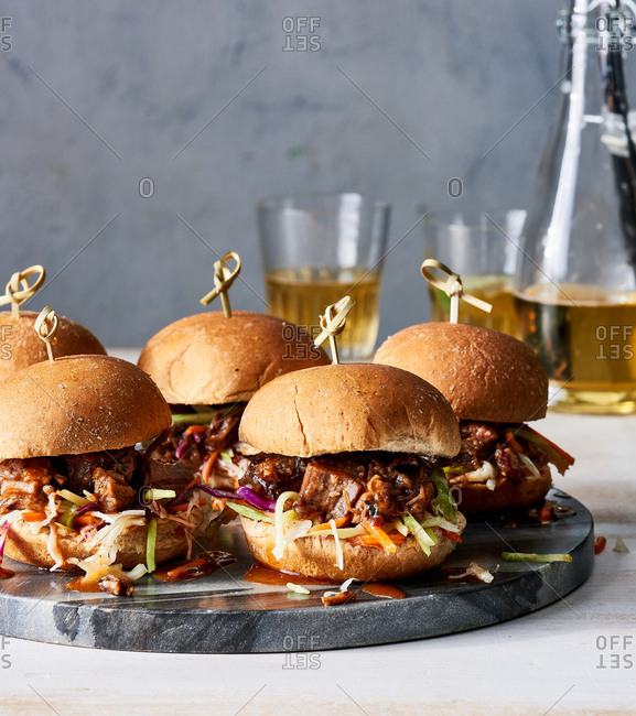 Barbecue sliders on a platter
