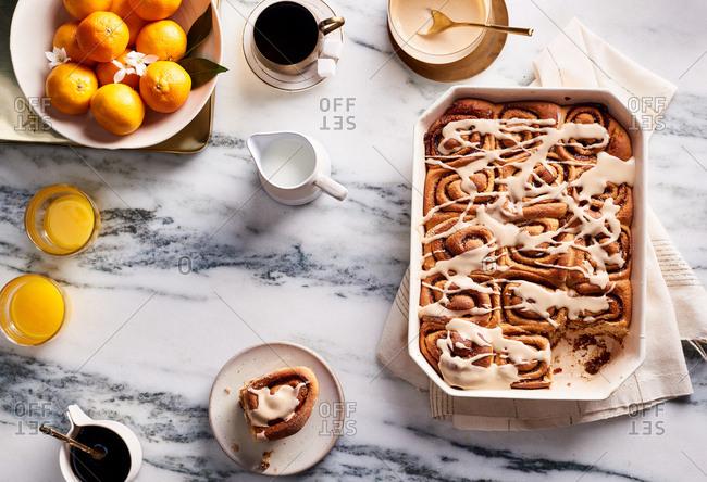 Whole-wheat cinnamon rolls with maple glaze