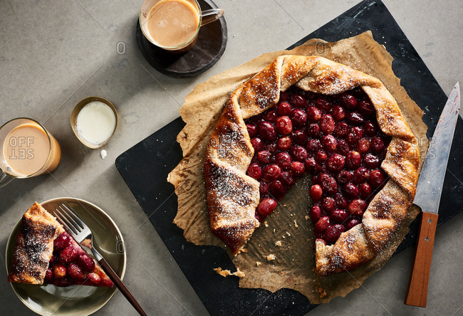 Grape galette being served