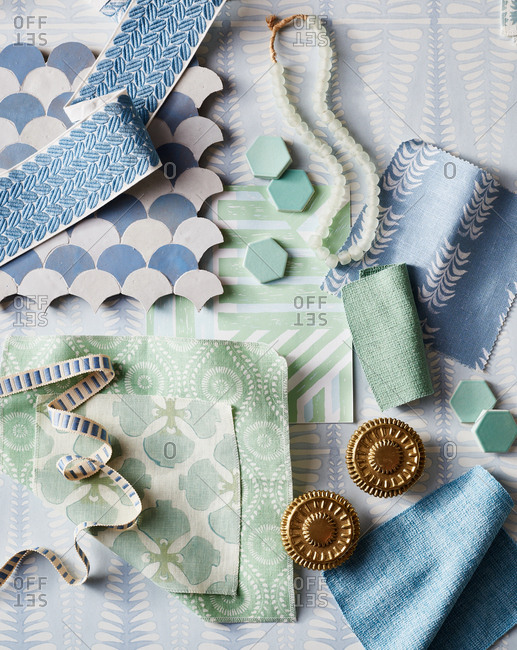Variety of blue and green fabric swatches