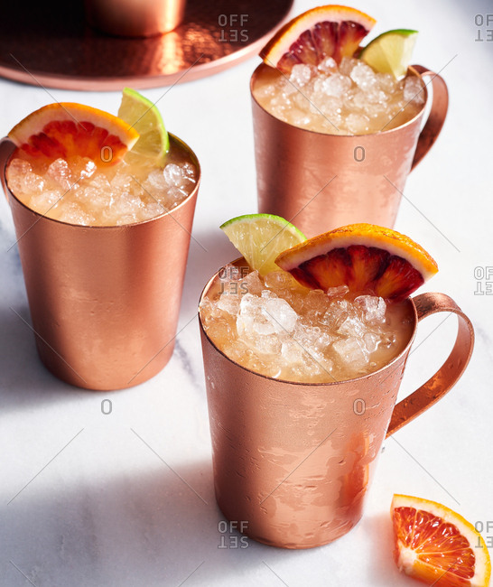 Kombucha blood orange mule in copper cups