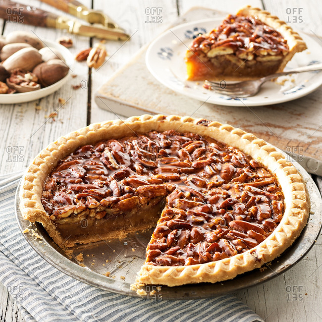 Serving an old fashioned pecan pie