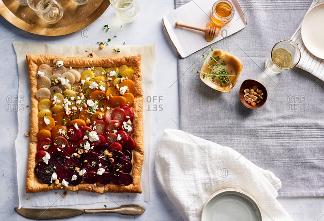 Tricolored beet tart on a tablescape