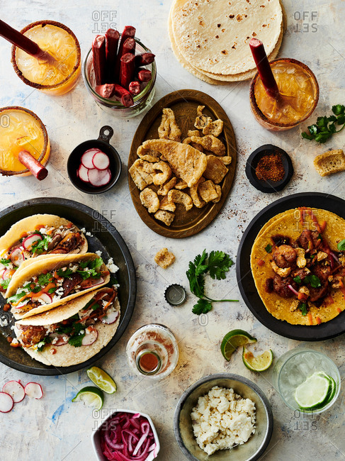 Taco night spread with drinks
