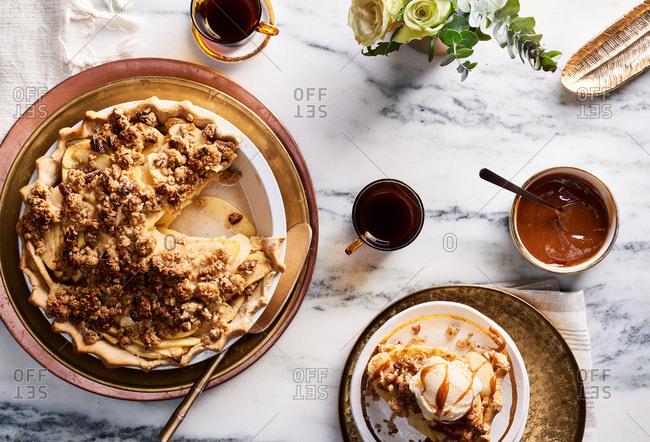 Miso caramel-apple pie on a kitchen countertop