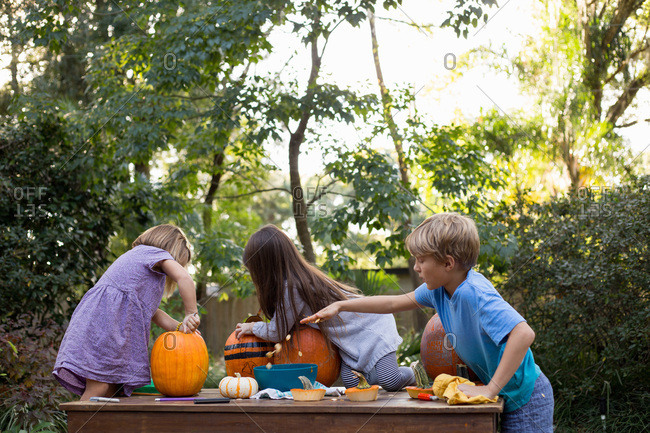 Children carving pumpkins together and scooping out seeds