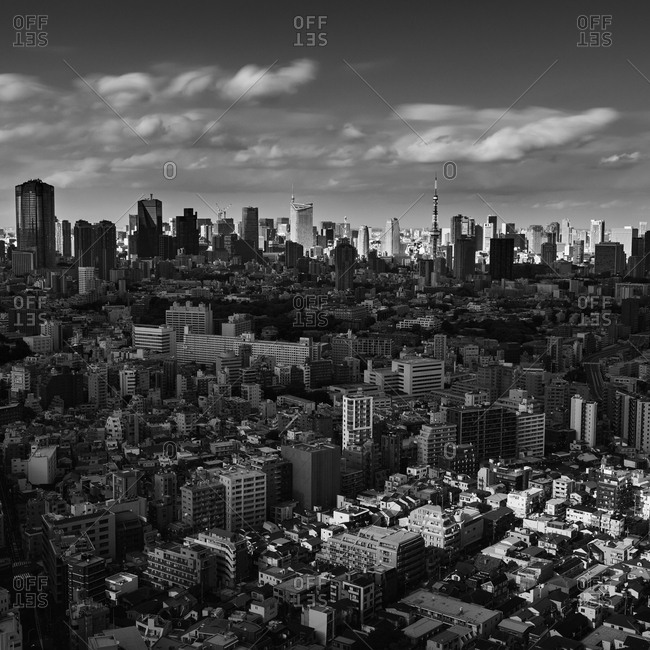 Dramatic view of Tokyo cityscape, Tokyo, Japan