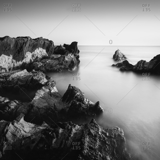Sea rocks and silky water at Arasaki coast, Miura Peninsula, Japan