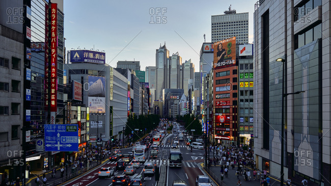 8/25/18: View of crowded Shinjuku area at dusk, Tokyo, Japan