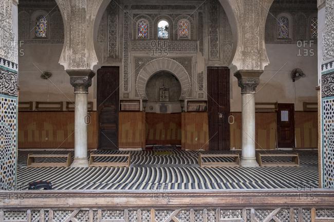Fes, Morocco - 21 September 2017: Al Attarine Madrasa prayer hall
